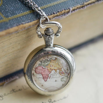 World Map Pocket Watch Necklace, Antique Map Necklace, Globe Necklace, Vintage Map Necklace Pocket Watch, Silver Pocket Watch Necklace