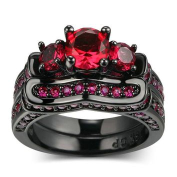 Red CZ Cubic Zirconia Stone Black Gold Filled Ring