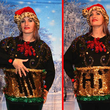 Large, color changing sequins, write on it to make your own design, Party Sweater, Ugly Christmas Sweater, one of a kind, bling, jewels