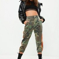 Missguided - Khaki Cargo Camo Cropped Pants