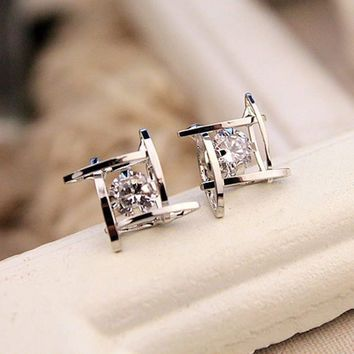 Silver Hollow Out Square Zircons Earrings