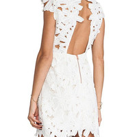 White Backless Zippered Lace Dress