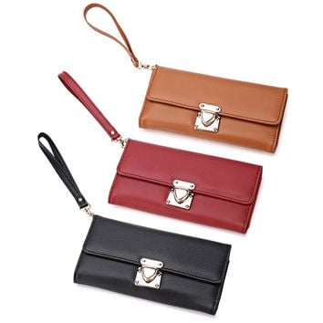 Guapabien Stylish Pure Color Insert Lock Clutch Wallet Women Leather Hasp Long Wallet Purses  Wallets Female Credit Card Holder