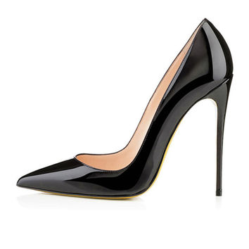 Brand REAL PHOTO Apricot color Bottom Sole High Heels Pumps shoes Pointed Toe PU Patent Leather Ladies Sexy Stiletto 12CM