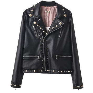New 2016 Women zipper black glod Punk Strong Spike Rivet Studded Shoulder Snake Pattern PU Leather Jacket Coat autumn streetwear