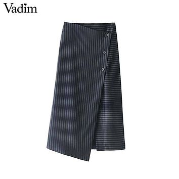 women buttons striped wrap skirt office lady work work wear mid calf  casual wear chic midi skirts