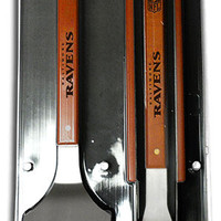 NFL Baltimore Ravens Grill Set sportula, tongs & fork stainless steel wood