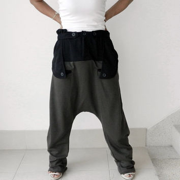 01,Trousers Gaucho, Ninja Pants Adjustable Waist,Unisex, Ribbed Cotton Two Tone,Grey/Black.