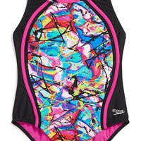 Girl's Speedo 'Freestyle Graffiti Splice' One-Piece Swimsuit,