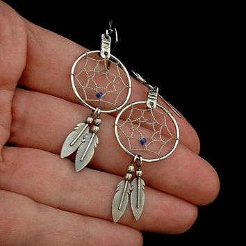 Vintage Navajo DREAM CATCHER Native American EARRINGS Feather Sterling Silver Earwires c.1980s