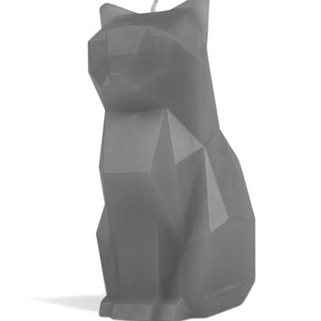 """Kisa Pyropet"" Cat Candle (Grey)"