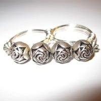 Two Finger Ring Wire Wrapped Silver Rose Beads