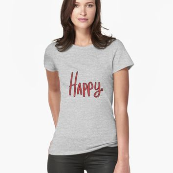 "'""Happy"" hand drawn typography' T-Shirt by BillOwenArt"
