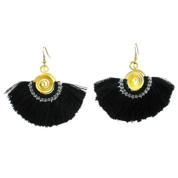 Flamenco Fringe Earrings - Black - Global Groove (J)