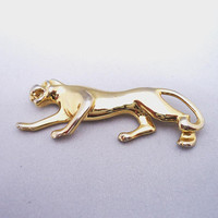 Vintage Panther Brooch, Wild Panther Pin, Wild Panther Ladies Jewellery