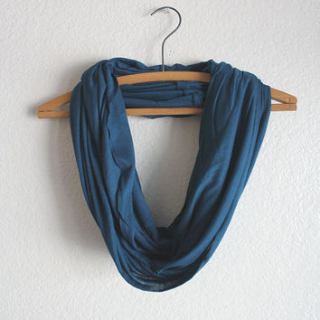 Teal Jersey Knit Scarf - Teal Infinity Scarf - Teal Scarf- November trends