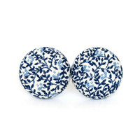Vintage style stud earrings - blue white fabric button earrings - tiny porcelain earrings - nickel free - summer