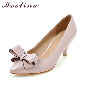 Meotina Women Pumps Women Dress Shoes Plus Size 33-43 Ladies Party Shoes New Autumn Bow Ladies Pumps Casual Pink Chaussure Femme