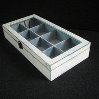 Bespoke white wooden tea box with glass lid
