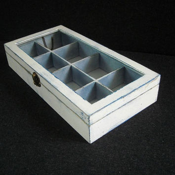 Bespoke white wooden tea box with glass lid & Shop Wooden Tea Box on Wanelo Aboutintivar.Com