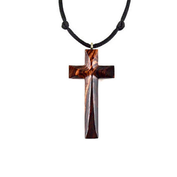 Mens Cross Necklace, Wood Cross Necklace, Wooden Cross Pendant, Mens Cross Pendant, Mens Wood Cross, Christian Jewelry, Hand Carved Cross