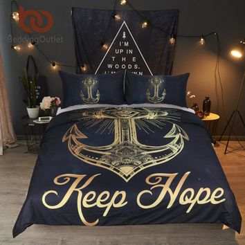 BeddingOutlet 3 Pcs Golden Anchor Duvet Cover Set With Pillowcase Retro Bedding Set King Size Luxury Soft Microfiber Quilt Cover