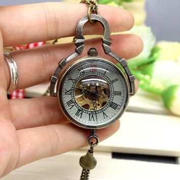 Vintage Small Bell Hand Wind Mechanical Pocket Watches Steampunk Skeleton Unique Bronze Chain Necklace Gift For Women Mens Xmas