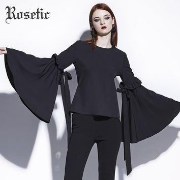Women Goth Tops Fashion Big Flare Long Sleeve Casual Shirt Lace-Up Bandage Bow Gothic Blouses Shirts