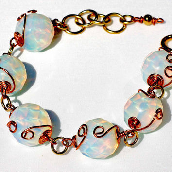 Translucent Faceted Opalite and Copper Wire Wrapped Extendible Bracelet, Etsy UK
