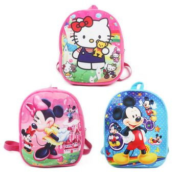 1pc 26cm New cute backpack for girls Cartoon  Mickey Minnie mouse plush backpacks for kids schoolbag