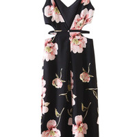 Black Floral Deep V-neck Cut Out Side Split Dress
