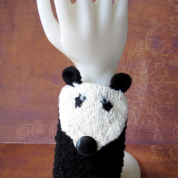 Handmade Knit Wrist Cuff Wallet / Cozy / Case (for MP3, iPods, Cell Phones, etc.) Panda Bear