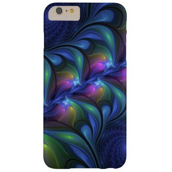 Colorful Luminous Abstract Blue Pink Green Fractal Barely There iPhone 6 Plus Case