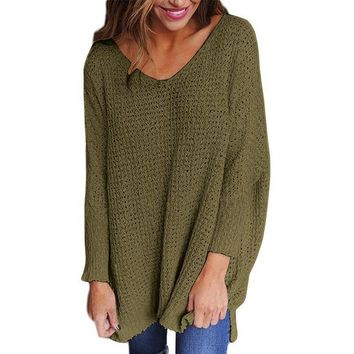Women's Army Green Waffle Texture Sweater Long Sleeve Tunic Length Sweater Pullover Top