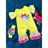 2019 Yellow & Hot Pink Bunny Easter Romper