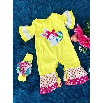 Yellow & Hot Pink Bunny Easter Romper C