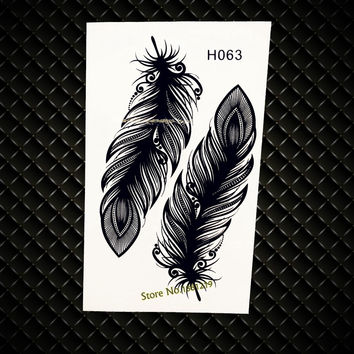 Black Indian Feather Waterproof Temporary Tattoo Fake Flash Henna Tattoo Stickers Jewelry paste GH063 Women makeup arm Tatoo Leg