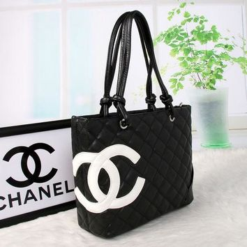 CHANEL Trending Women Shopping Bag Big Logo Print Leather Tote Handbag Shoulder Bag Black I