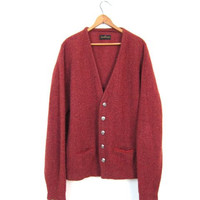 70s Dusty Red Wool Cardigan Sweater Suede Trim Pocket Sweater Button Up Boyfriend Cardigan Pockets Preppy Wool Sweater Boho Mens Large XL