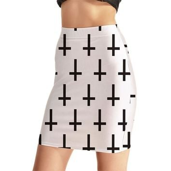 Simple White Women Sexy High Waist Skirts Tennis Bowling Skirts Slim Black Cross Elastic Sport Female Girl Party Apparel S-4XL