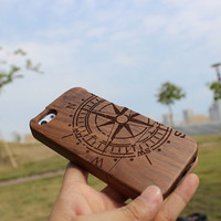 Compass black walnut wood iphone 5s case, wood iphone 4 case, wood iphone 4s, wood iphone 5 case, wood iphone 5s case, wood iphone 5c case