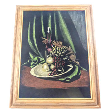 Framed Black Velvet Painting Fruit Glass Still Life