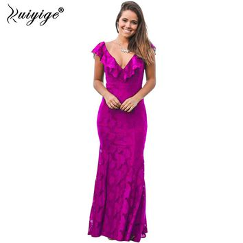 2018 Women Sexy Solid Lace Long Dress Tunic Hollow Out Plunging V-Neck Bodycon Elegant Tunic Maxi Female Mermaid Vestidos S-2XL