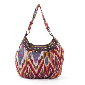 Market Bag IKAT Tote Boho Guatemalan Cotton Bucket Bag Colorful Purse Beach Bag