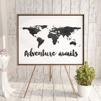 World Map Adventure Awaits Printable Art Inspirational Quote Typography Art Black and White Art Wall Art Prints Watercolor Print Printable