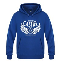 Church of CASTIEL Supernatural Sweatshirts Men 2018 Mens Hooded Fleece Pullover Hoodies