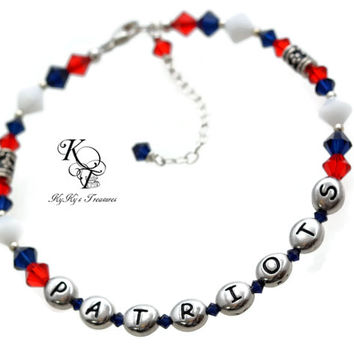 New England Patriots Bracelet, Sports Team Jewelry, Football Jewelry, Patriots Jewelry, New England Patriots Gift, Christmas Gift