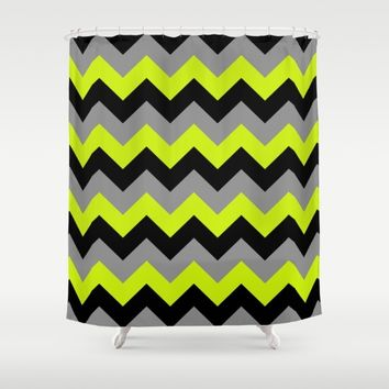 Chevron Silver Lime Shower Curtain by Alice Gosling
