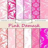 Pink damask digital paper, Damask Digital Paper, digital paper damask, pink digital paper, instant download, pink pattern digital paper