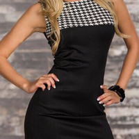 Color Block Houndstooth Sleeveless Mini Bodycon Dress